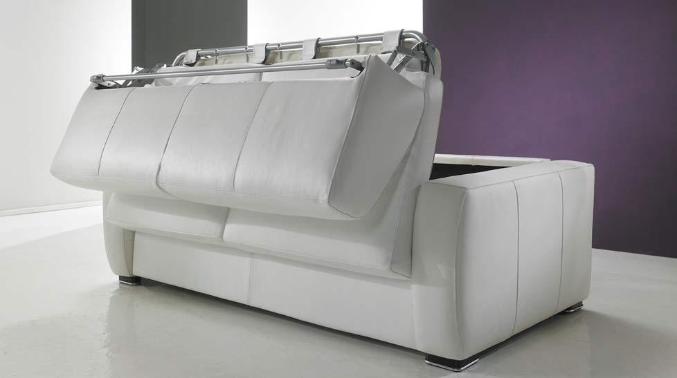 Canapé lit RAPIDO italien en cuir de vachette pas cher