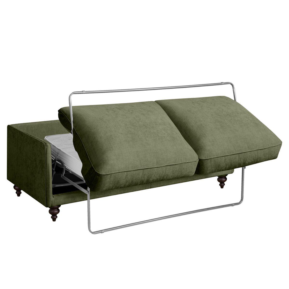 Canapé convertible pact en lin vert kaki