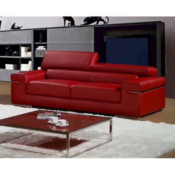 Canapé 3 places rouge en cuir contemporain Achat