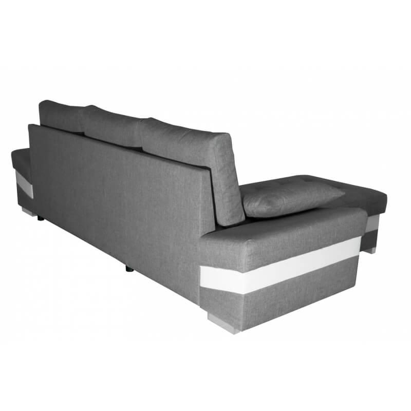 Canapé d angle convertible contemporain en PU blanc tissu