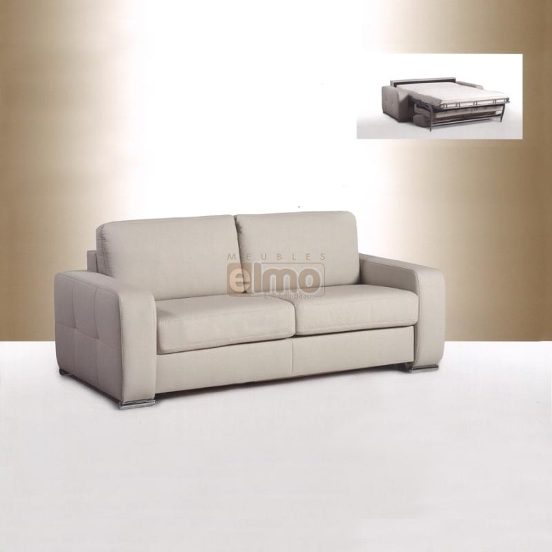 Canapé lit convertible contemporain cuir ou tissu BEATRICE