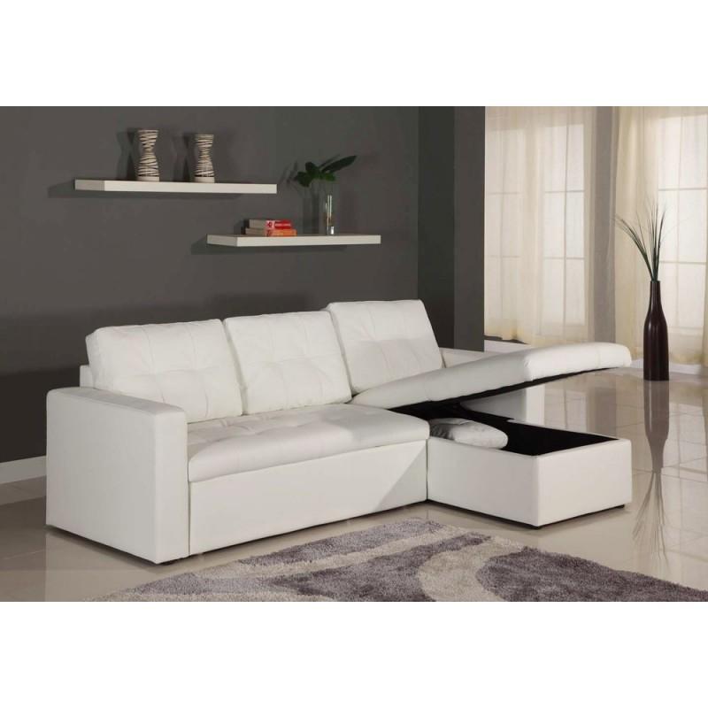 """Canapé d Angle Convertible """"Corto"""" 230cm Blanc"""