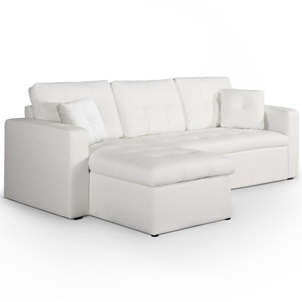 Canapé d angle convertible simili cuir Blanc Cuba