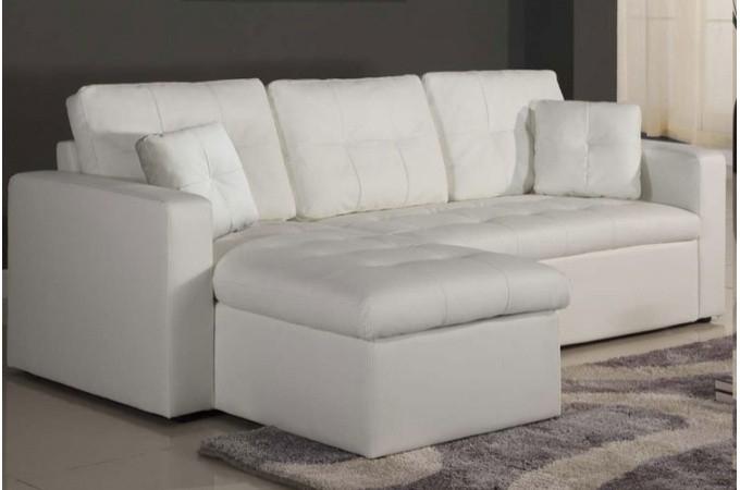 Canapé d angle modulable et convertible 3 places blanc