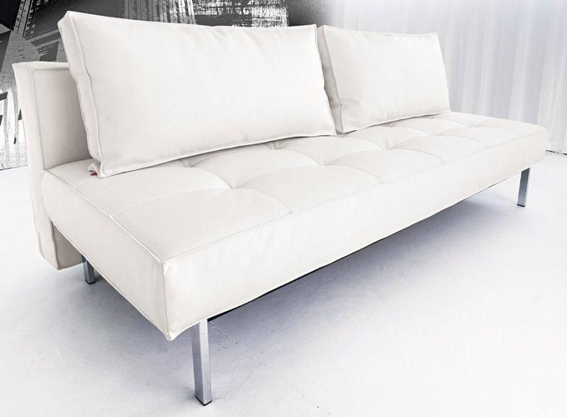 Canape lit design sly deluxe facon cuir blanc innovation