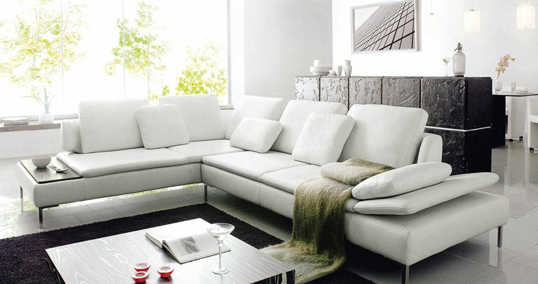 DECO IN PARIS Canape d angle design cuir blanc majestic