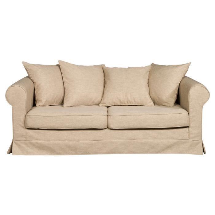 Canapé 3 places en tissu déhoussable ARISTIDE Beige