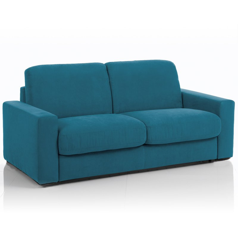 Canapé convertible 3 places maxi tissu déhoussable bleu