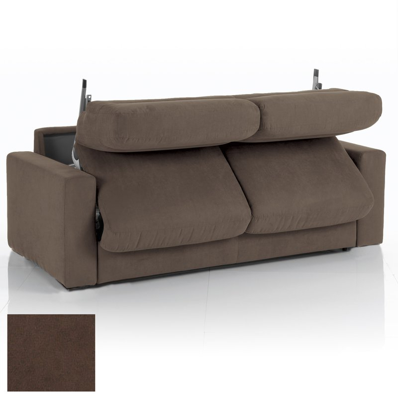 Canapé convertible 3 places tissu déhoussable chocolat