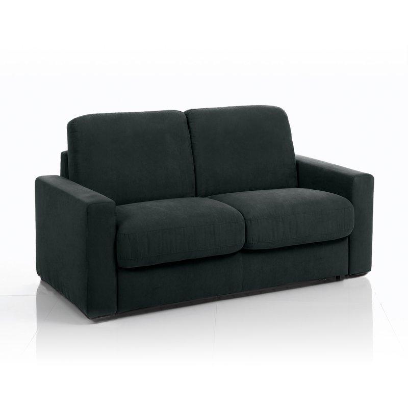 Canapé convertible 3 places tissu déhoussable noir
