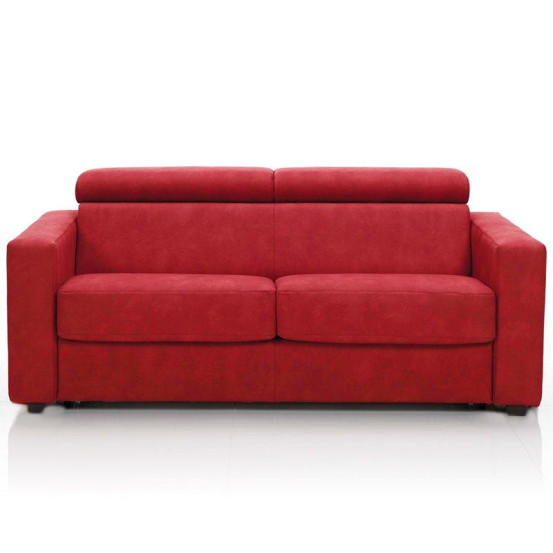 Canapé convertible 3 places tissu déhoussable rouge