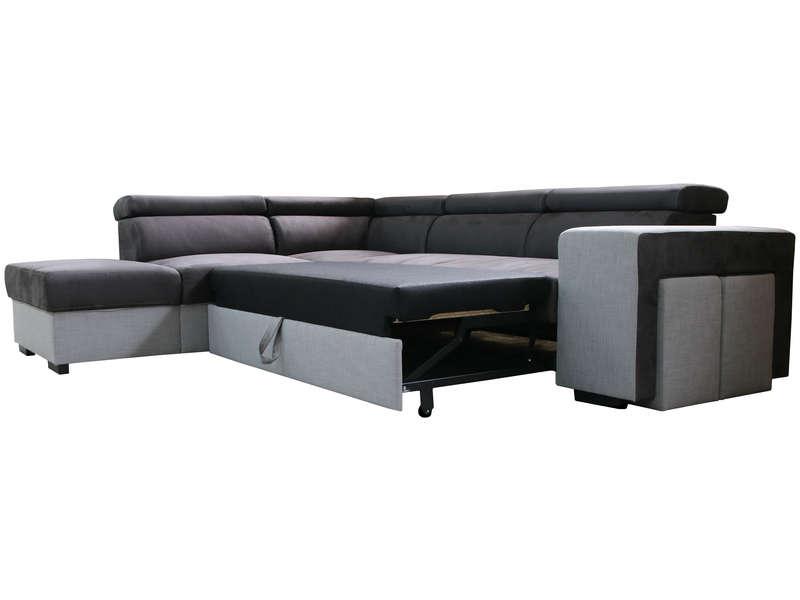 Canapé d angle convertible 4 places CRAWFORD coloris gris