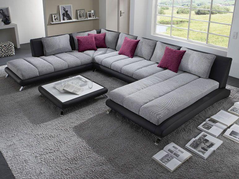 Canapé d angle en PU noir et tissu gris DUCCIO 5