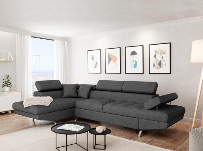 Canapé d Angle Gauche RIO Convertible avec coffre en tissu