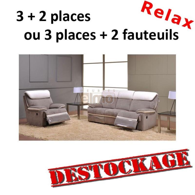Destockage ensemble canapé relax contemporain cuir et