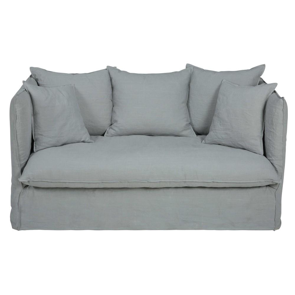 Canapé convertible 2 places en lin lavé gris clair Louvre