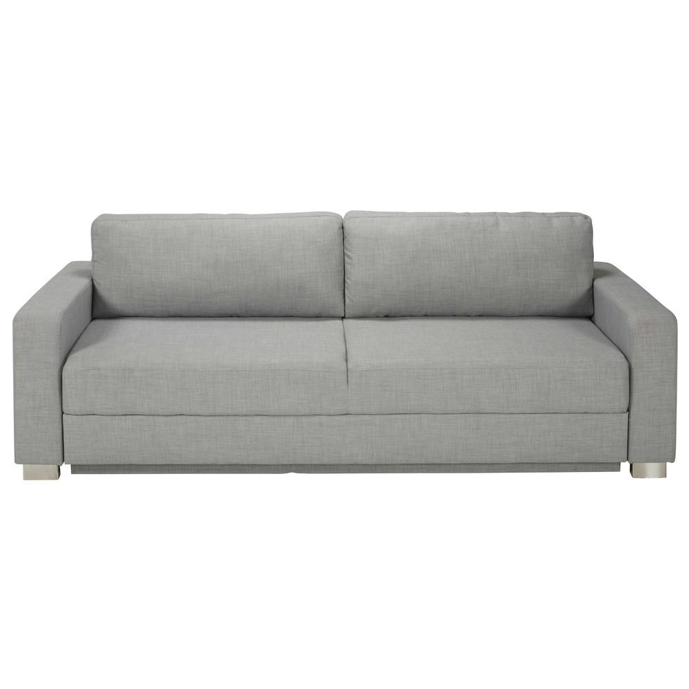 Canapé convertible 3 places en tissu gris clair Urban