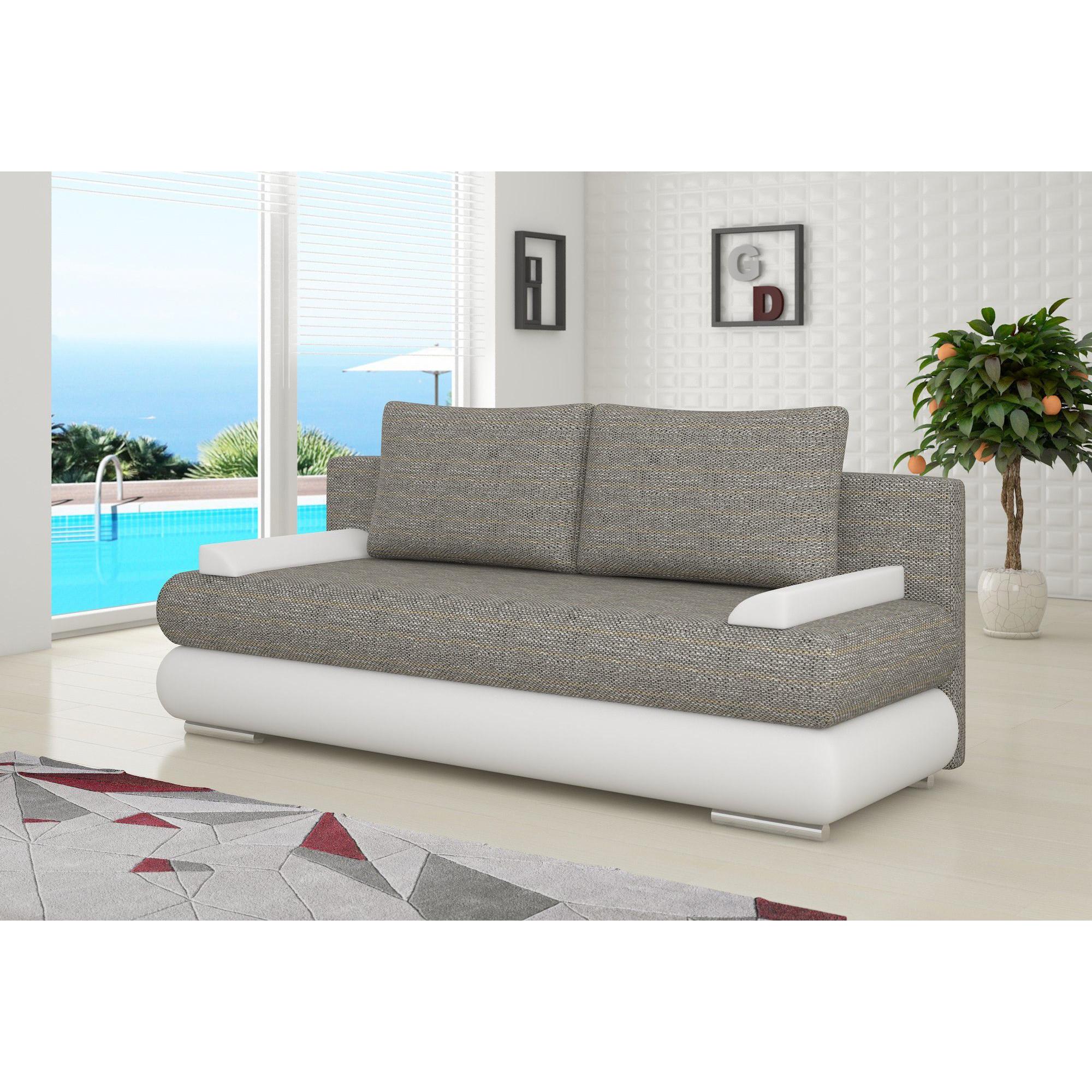 Canapé convertible à 2 places en tissu gris clair et pvc