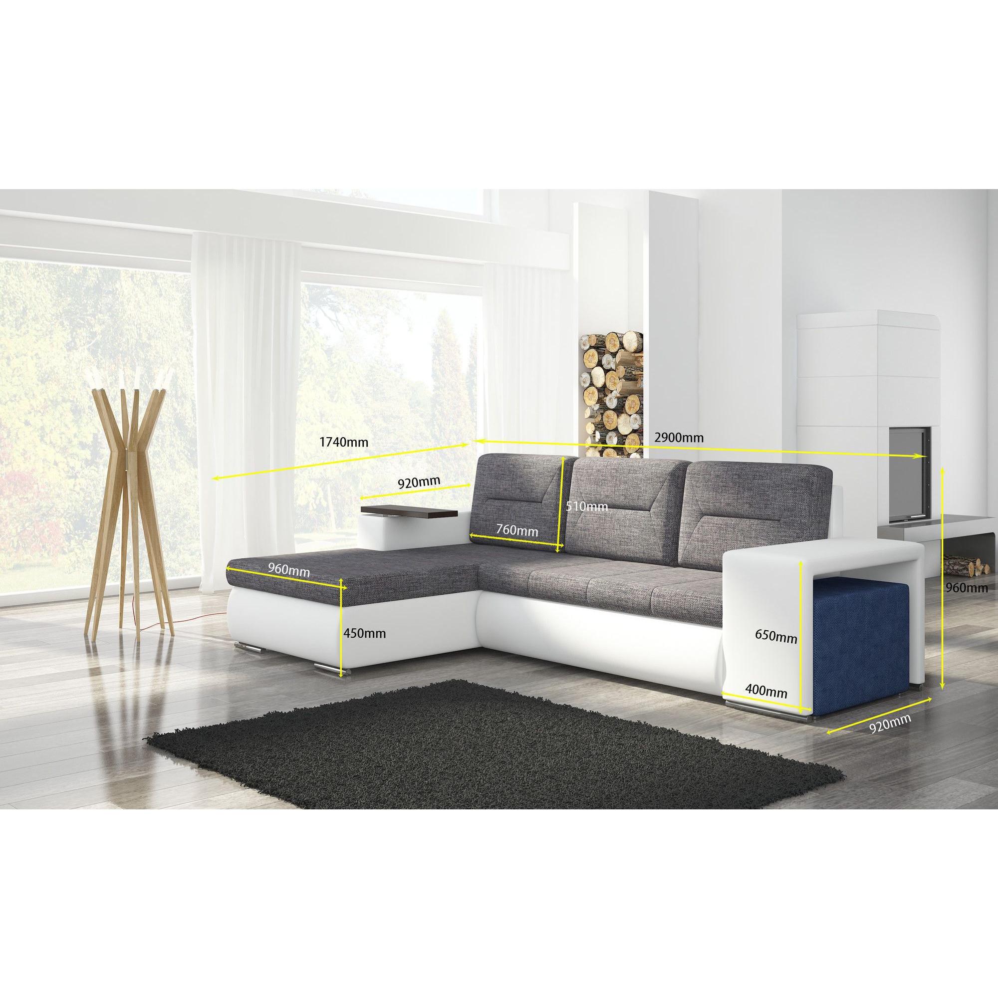 Canapé d angle convertible 3 places en tissu gris clair et