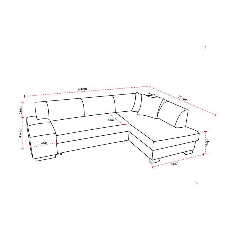 Canapé d angle convertible 4 places en tissu gris clair et