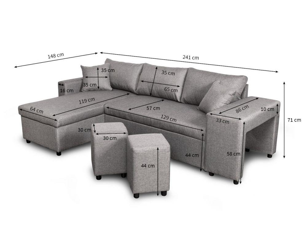 Canapé d angle convertible en lit avec poufs OSLO gris clair