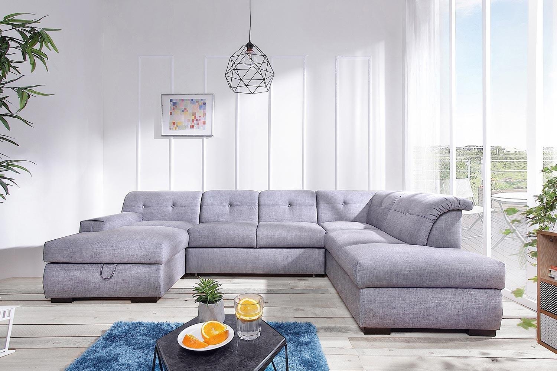 Canapé d angle convertible gris clair Genova angle droit