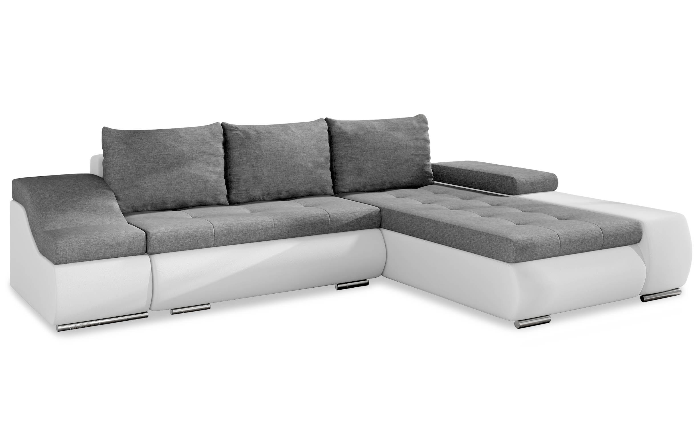 Canapé d angle convertible tario Simili Blanc et Tissu