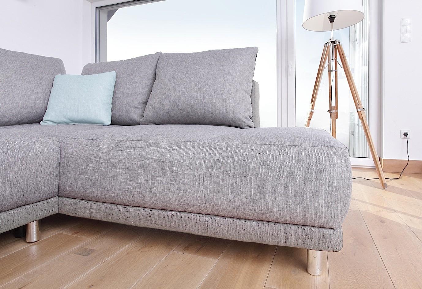 Canapé d angle gauche convertible gris clair Minty