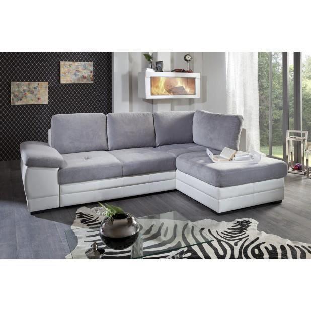 Canapé microfibre gris clair blanc angle droit Achat
