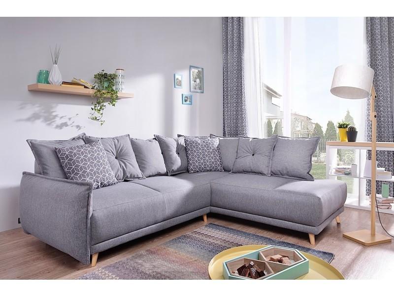 Lena canapé scandinave d angle droit gris clair