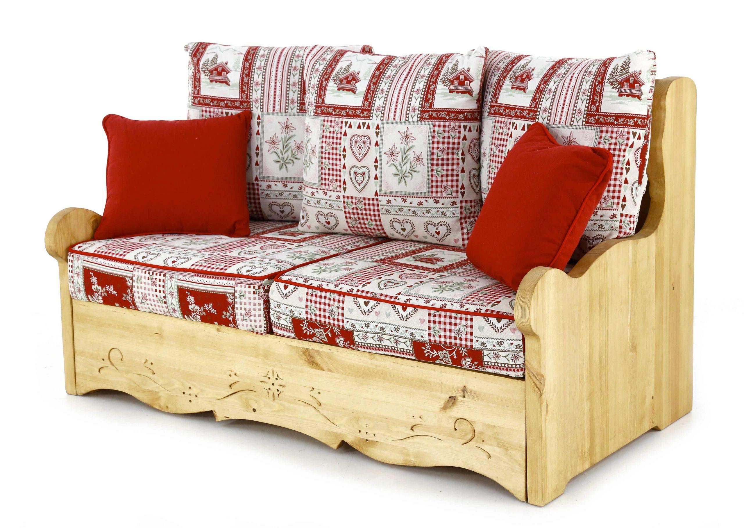 Canapé 2 places avec coffre style montagne rouge et blanc