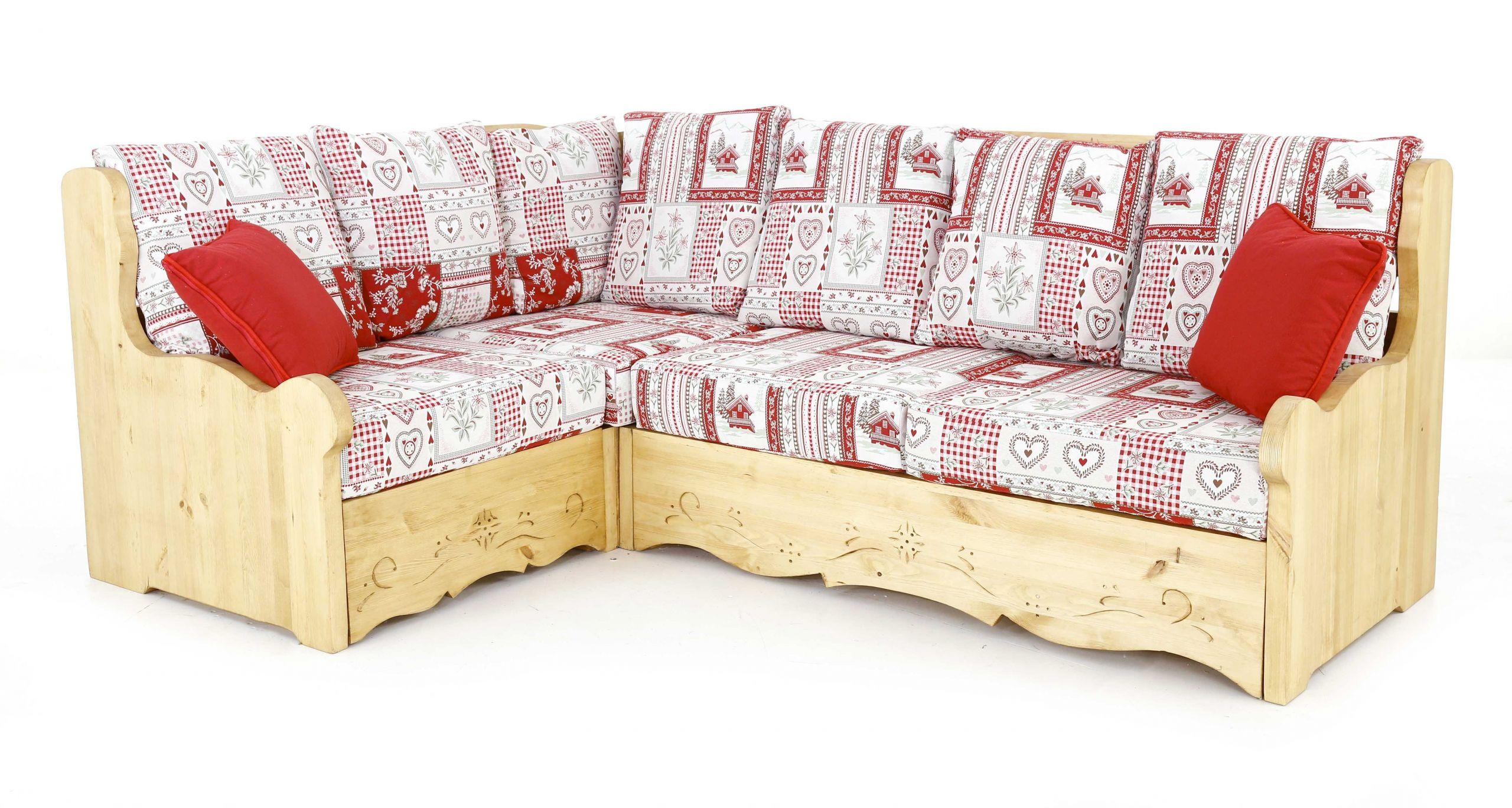 Canapé d angle coffre style montagne motif Vanoise