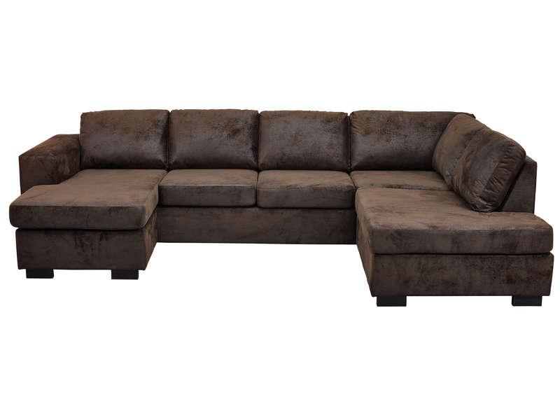 Canapé d angle convertible MISSISSIPI coloris marron pas