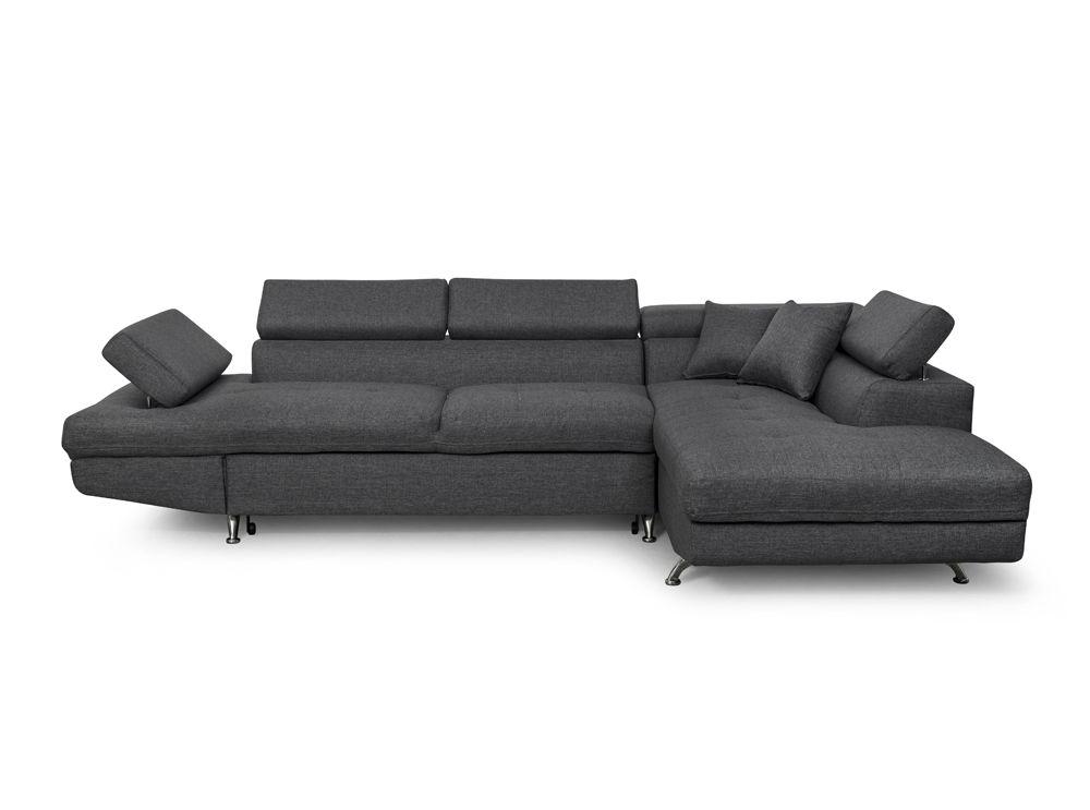 Canapé d angle droit en tissu gris foncé