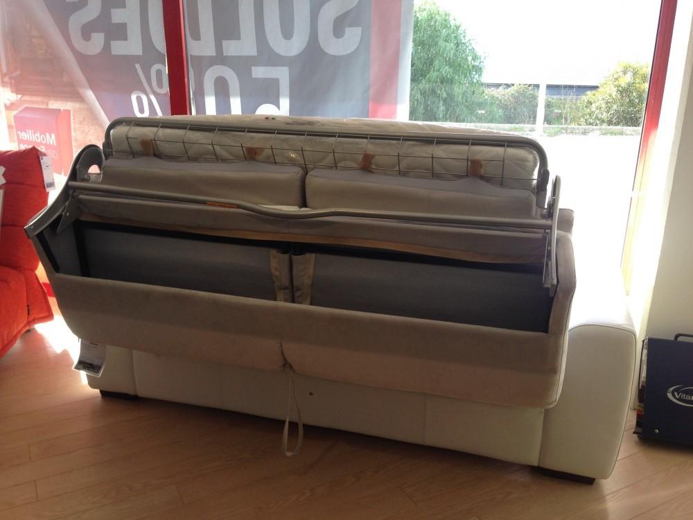 Canapé convertible rapido design cuir et tissu SYDNEY