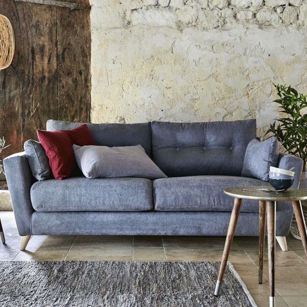 Canapé 3 places convertible en tissu gris ICONE