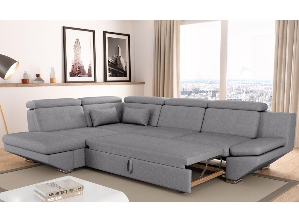 Canapé convertible avec tiroir tissu gris foncé BALI