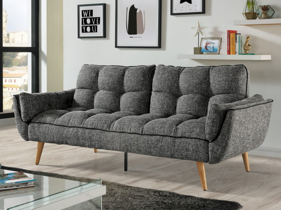 Canapé convertible en tissu Noir gris ou rouge OVILA