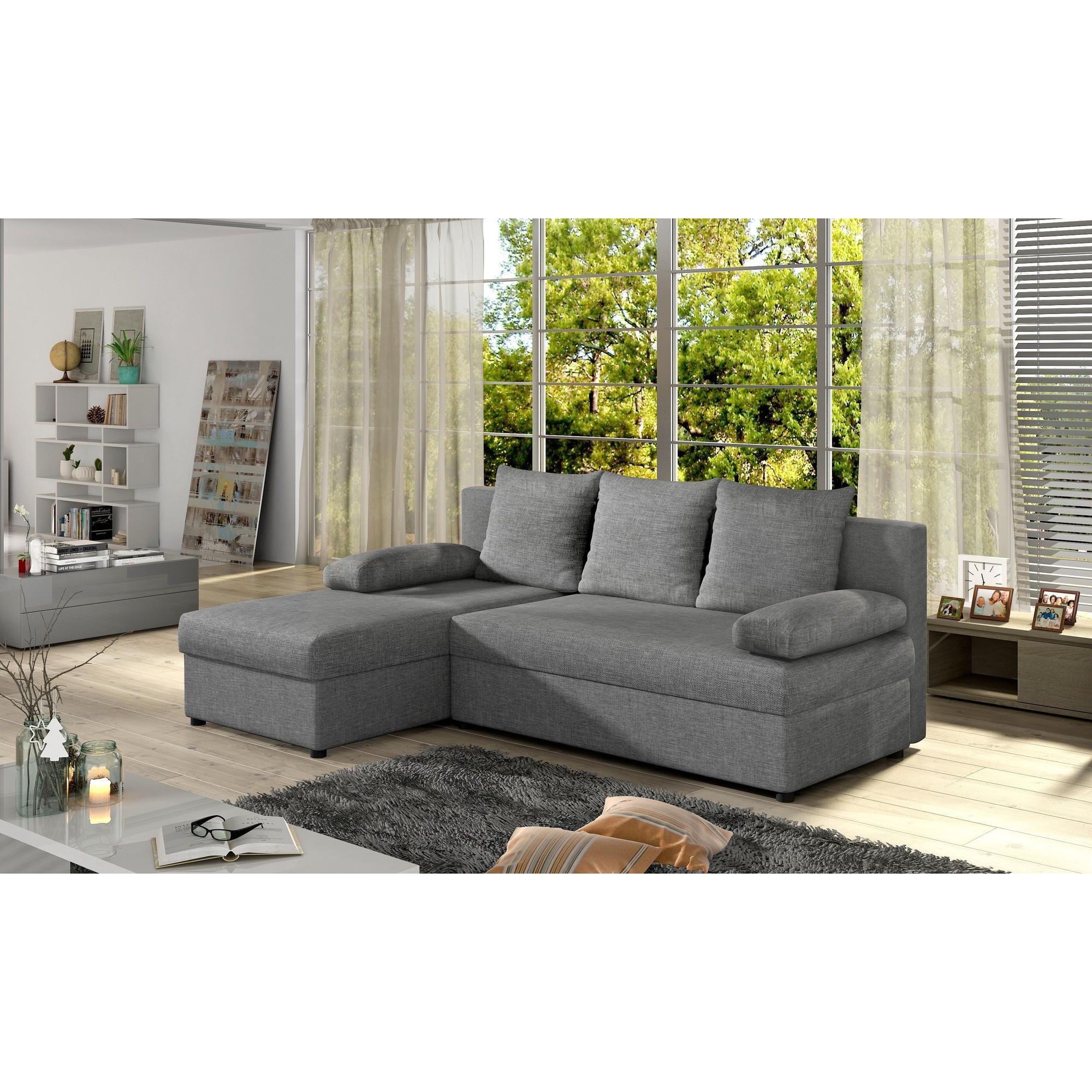 Canapé d angle convertible 3 places en tissu gris clair