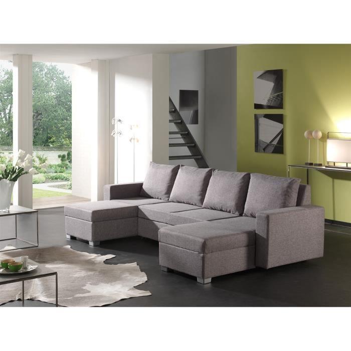 Canapé d angle convertible en U tissu gris Achat Vente