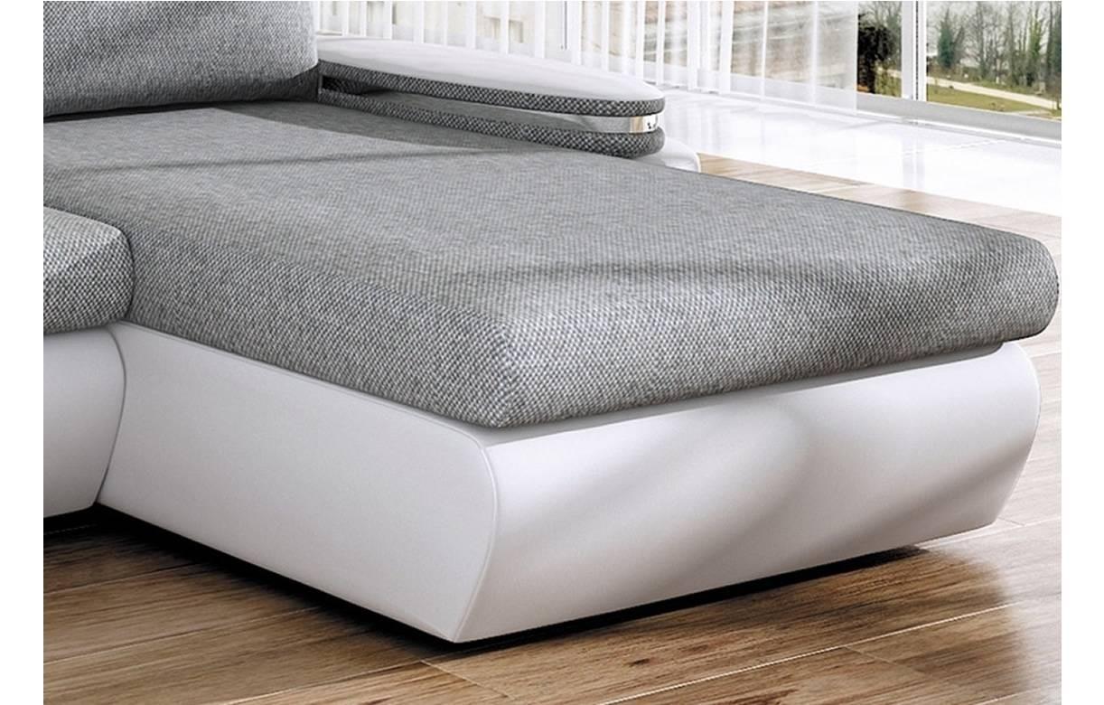 Canapé d angle convertible gris et blanc en tissu et