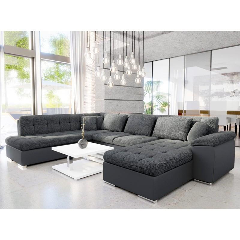 Canapé d angle en U convertible tissu polyester gris
