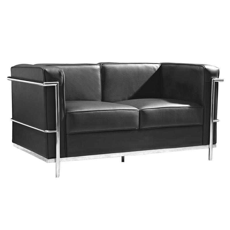 Canapé 2 places Cuir Noir Inox Moderne Design CORBS