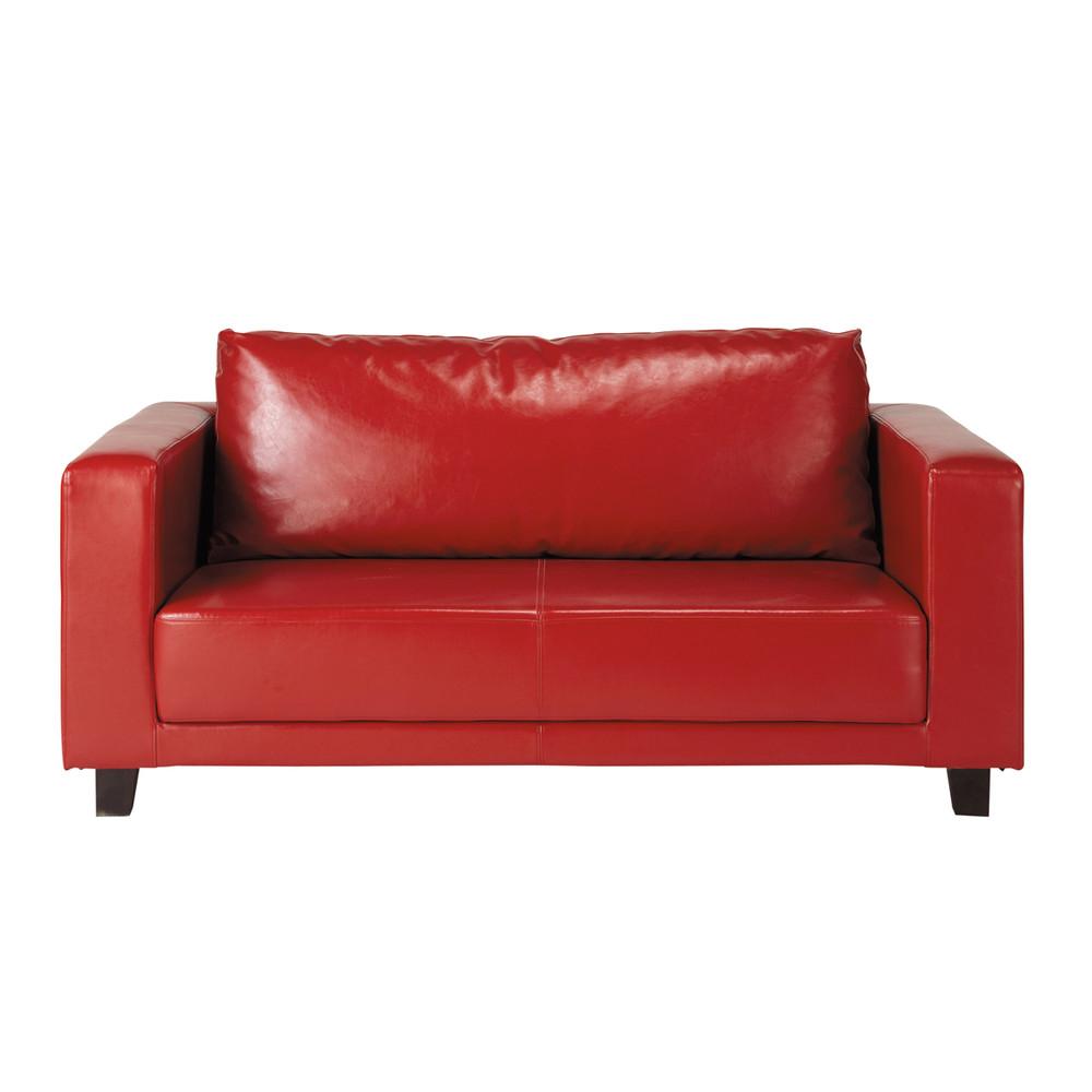 Canapé 2 places imitation cuir rouge Nikeo