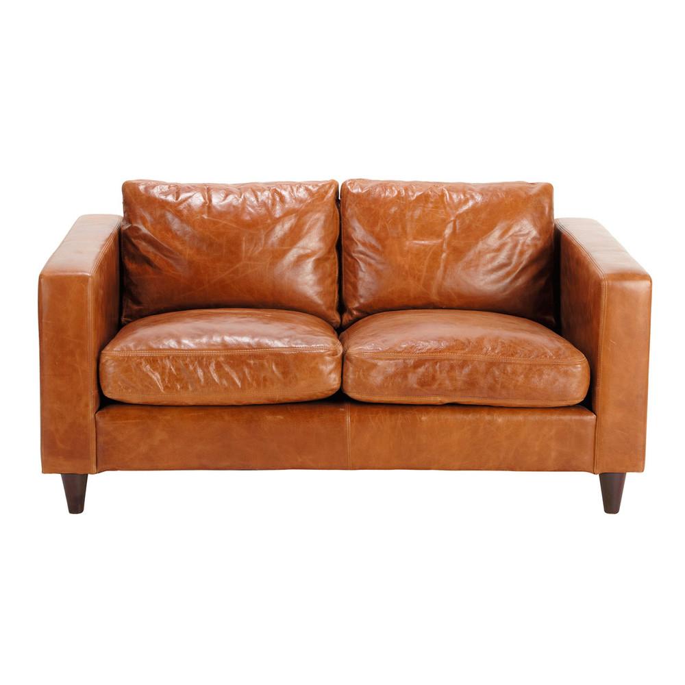 Canapé vintage 2 places en cuir camel Henry