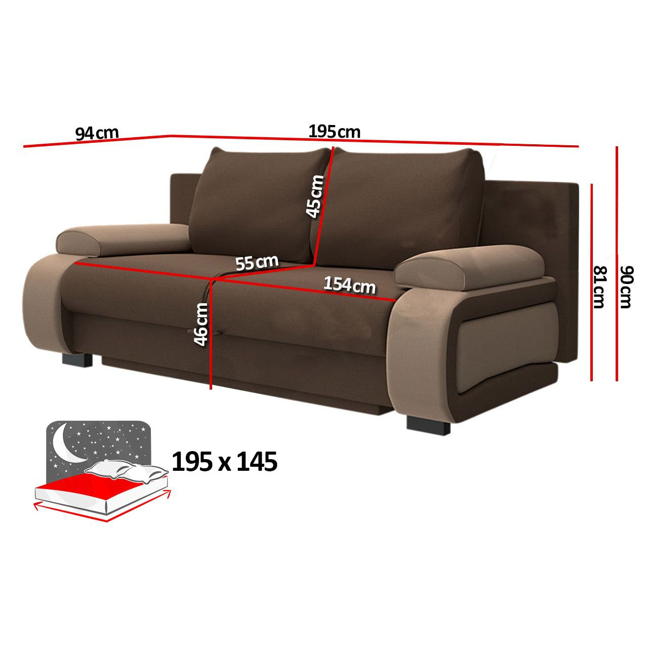 Canapé convertible design à 2 places en pvc noir et rouge