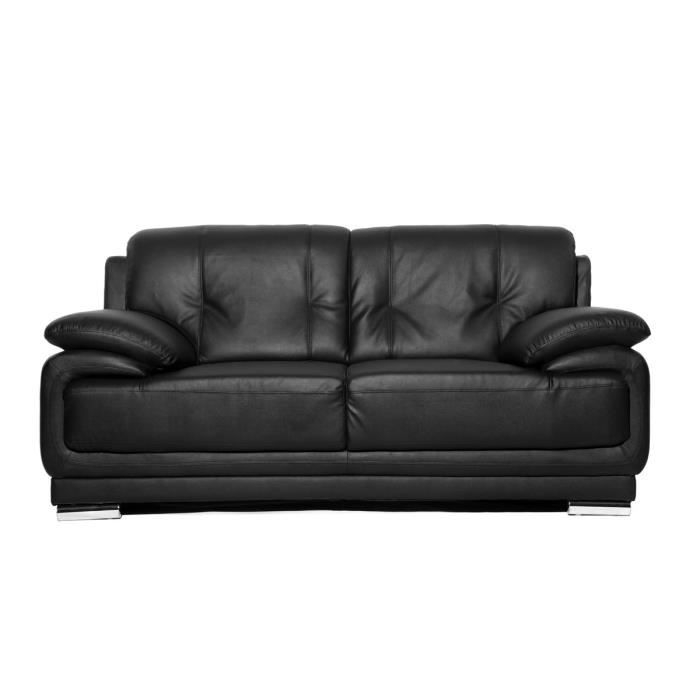 Miliboo Canapé cuir design noir 2 places TAMARA Achat
