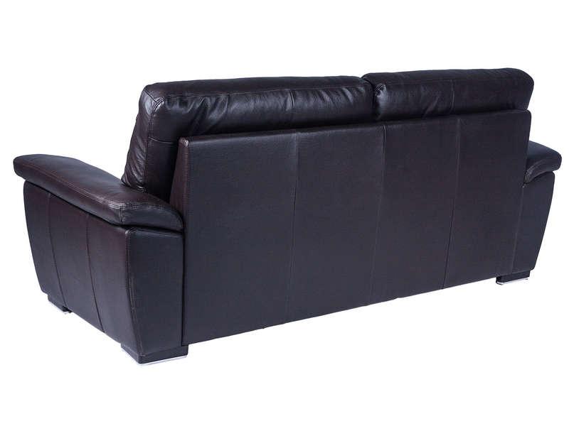 Canapé fixe 3 places en cuir GIOVANNI coloris chocolat