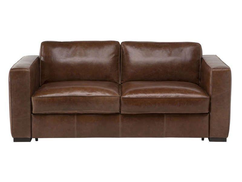 Canapé fixe 3 places en cuir HAVANE coloris marron