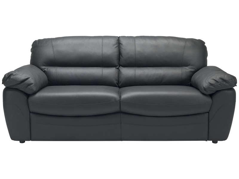 Canapé fixe 3 places VESUVE coloris noir en cuir PU